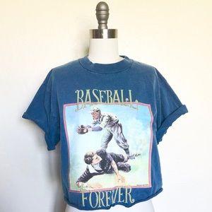 Vintage Indigo Dyed Baseball Crop Top